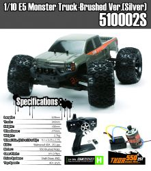 E5 Monstertruck Brushed 1:10 4 WD Silbergraugrün Karo incl. Fernsteuerung ohne Akku ohne Ladegerät 40-50 km/h schnell